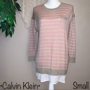 Calvin Klein Light Pink Striped Sweater,Size Small